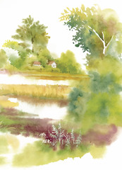 Watercolor summer rural landscape