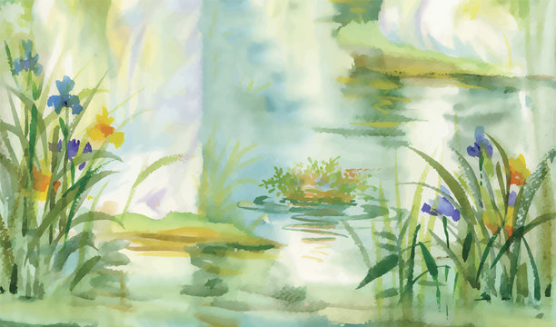 Summer pond watercolor illustration vector