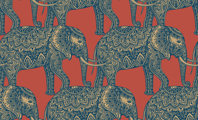 Seamless pattern with stylized ornamental elephants