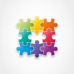 Puzzle pieces forming a square. Vector illustration graphic.