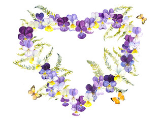 Heart frame from violets with butterflies. Wedding drawings. Water color painting. Greeting cards. Violets background, watercolor composition. Flower backdrop. Place for your text