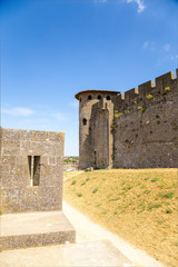 Carcassonne, France. View of the fortress between two rows of defensive walls. Fortress is included in the UNESCO World Heritage List