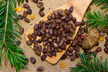 Pine nuts and green branch