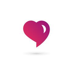 Heart symbol speech bubble logo icon design template. May be use