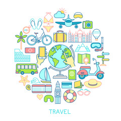 Wall Mural - Travel set -line icons.