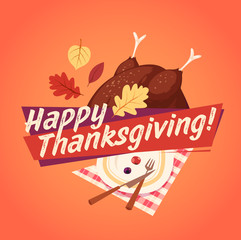 Happy Thanksgiving card, background, poster. Vector illustration.