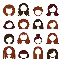 Brunette hair styles, wigs icons set - women
