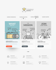 Home page of website with personal company concept logo and icons