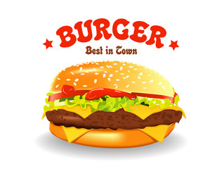 burger vector illustration. Hamburger on white background