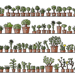 Shelves with cactus in pots, seamless pattern design