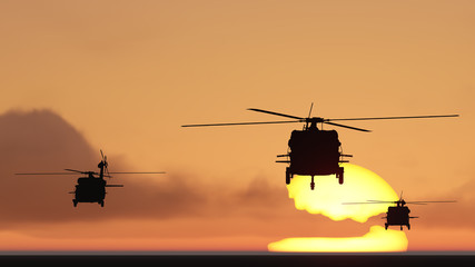 helicopters sun set