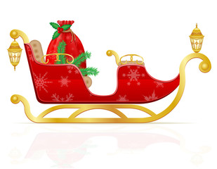 red christmas sleigh of santa claus with gifts vector illustrati