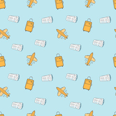 Flat line style seamless pattern. Tourist luggage, suit case, airplane, tickets. Cartoon style