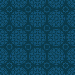 Arabic oriental seamless pattern, traditional Muslim floral ornament, blue Islamic background for design