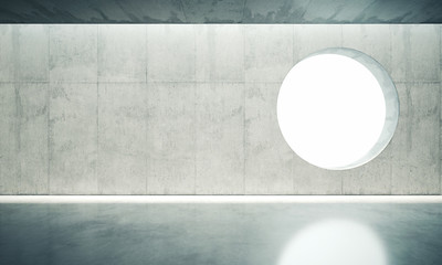 Blank space interior wall with one window. 3d render