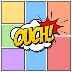 Ouch Comic Book Cartoon Background Though Speech Scream Bubble Effects Onomatopoeia Halftone
