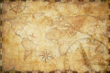 Poster World Map old nautical treasure map background
