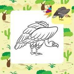 Cartoon vulture. Coloring page. Vector illustration