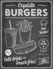 Grunge Chalkboard Fast Food Menu Template 2