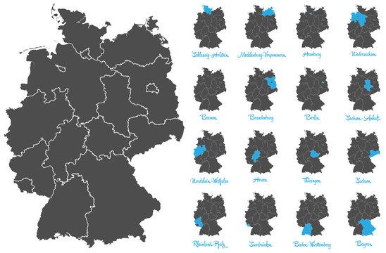 Deutschland Karte mit Bundesländern Vektor Set
