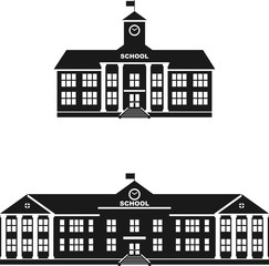 Set of silhouettes classical school building isolated on white