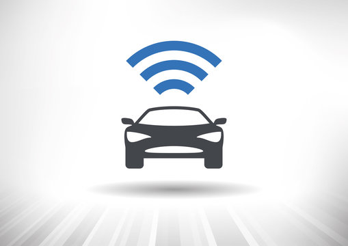 The Connected Car. Smart car icon with wireless connectivity symbol. Front view.