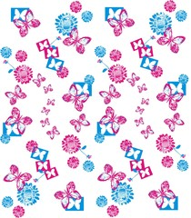 Seamless ornament with abstract details. Cute funny background: flowers and butterflies
