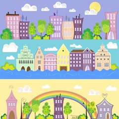 Design conceptual city banners with houses, river, rainbow, vector illustration, cartoon style