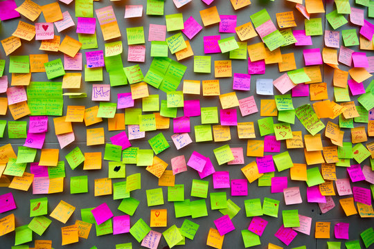 Many different colors paper notes