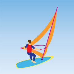 Windsurfer on a board for windsurfing.