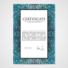 Graphic design template document with hand drawn doodle pattern