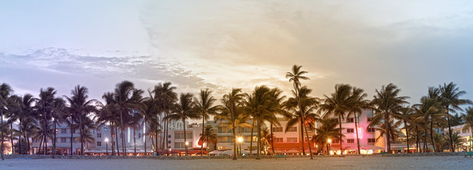 Miami Beach Florida, hotels and restaurants on Ocean Drive, world famous travel destination. Desaturated instagram filter processing for vintage looks