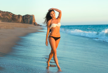 Gorgeous model long legs fit bikini swimsuit swimwear tan brunette tropical pose beach