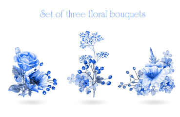 Set of watercolor floral bouquets for design.  Illustration of purple poppies and hydrangeas. Monochrome color. Watercolor flowers.