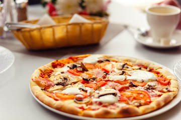 Pizza with Mozzarella Cheese, Fresh Tomato and Mushrooms