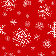 red seamless pattern with snowflakes