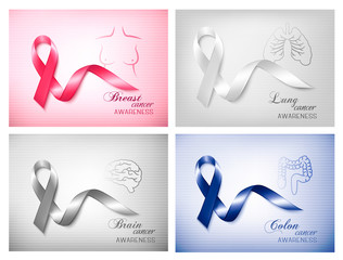 Four banners with different cancer awareness ribbons. Vector.