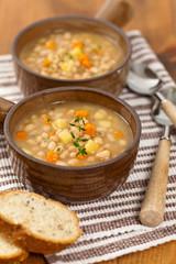 Bean and Potato Soup. Selective focus.