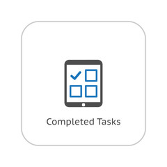 Completed Tasks Icon. Business Concept. Flat Design.