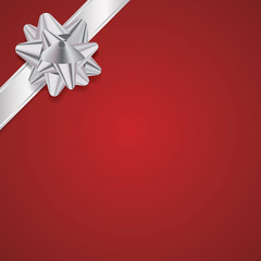 Red Christmas Background with Silver Bow and Ribbon
