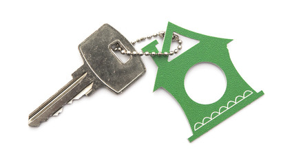 silver keys with house figure on the white background