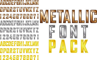 Vector metallic steampunk style font pack