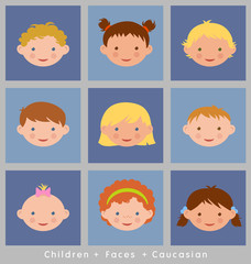 cute faces of children illustrated in flat style. caucasian.