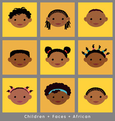 cute faces of children illustrated in flat style. African.