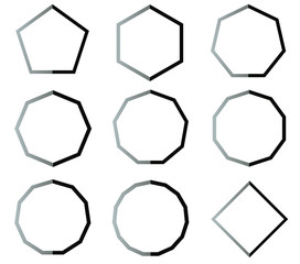 Polygon black and white shapes set illustration