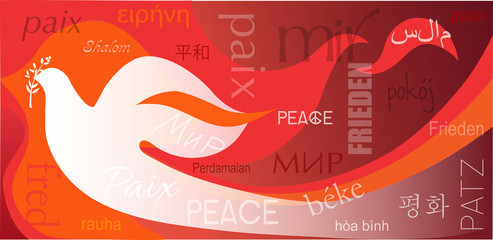 Dove on flames background and word Peace in different languages