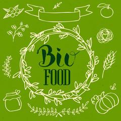 Organic, bio, ecology natural logotypes elements set.
