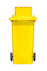 The front of large  trash cans (garbage bins) with wheel collection.