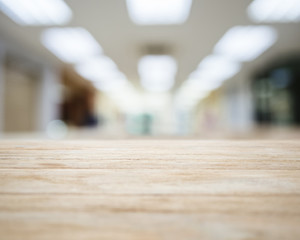 Table top with Blurred Hospital Labs Interior Background