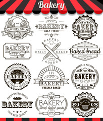 Bakery vintage design elements and badges set